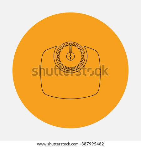 Bathroom scale. Simple flat icon on orange circle - stock photo
