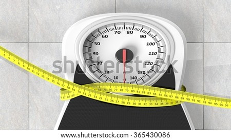 Bathroom scale with measuring tape squeezing it, closeup on bathroom floor. - stock photo