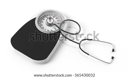 Bathroom scale with stethoscope, isoalted on white background. - stock photo