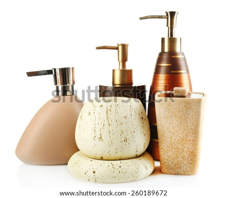 Bathroom set isolated on white - stock photo