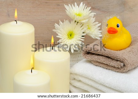 Bathroom setting with rubber duck - stock photo