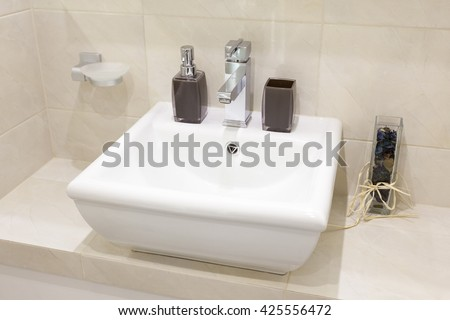 Bathroom Sink.Bathroom Sink Modern.Bathroom Sink White.Bathroom Sink Apartment.Bathroom Sink Small.Washbasin Decorations.Washbasin.Washbasin White.Washbasin Small.Washbasin Flat. - stock photo