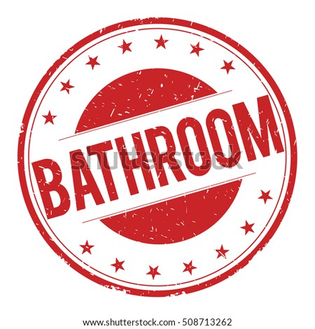 BATHROOM stamp sign text word logo red.