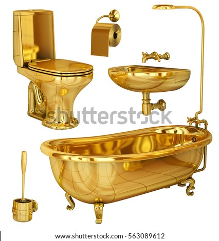 Bathroom Toilet Sink And Accessories Made Of Gold Set 3d Image Isolated On