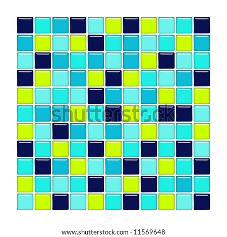 Bathroom wall with blue, aqua and green glass mosaic tiles