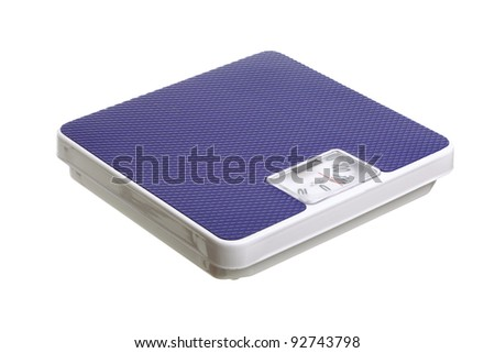 Bathroom weight scale isolated on white background Dieting concept - stock photo