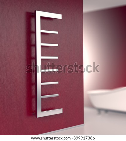bathroom with a modern radiator on a red wall (3d render) - stock photo