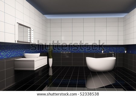 Bathroom with black blue white walls interior 3d