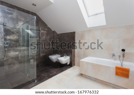 Bathroom with glass shower, toilet, bidet and bath - stock photo