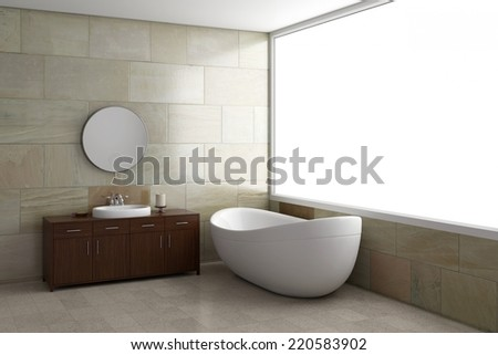 Bathroom with tube and mirror with bright window - stock photo