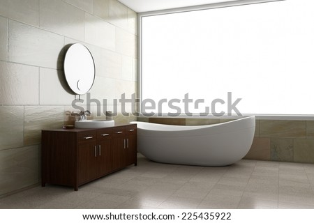 Bathroom with tube and mirror with bright window 3D rendering  - stock photo