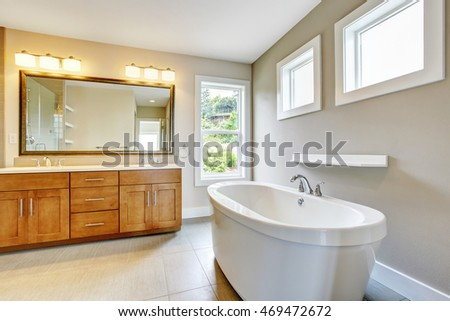 Bathroon interior with vanity cabinet, two sinks and white bath tub. Northwest, USA
