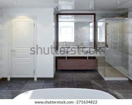 Bathtoom modern style. 3d render - stock photo