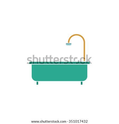 Bathtub. Colorful pictogram symbol on white background. Simple icon - stock photo