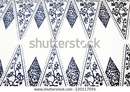 batik white background - stock photo