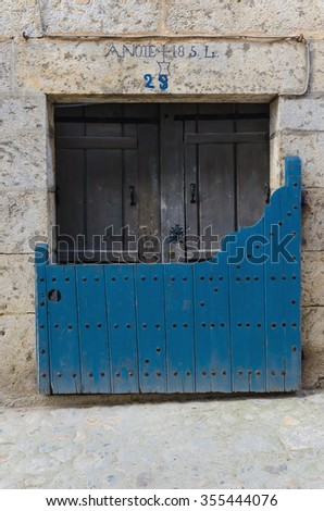 Batipuerta painted in blue. Tipical door in Candelario, Salamanca, Castile and Leon, Spain