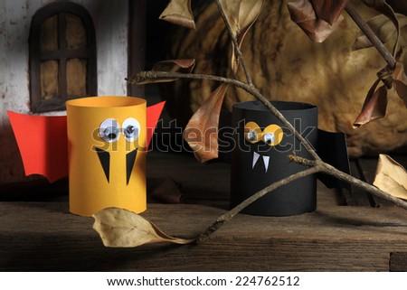 Bats and pumpkin of Halloween - stock photo