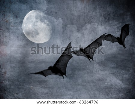 bats in the dark cloudy sky, perfect halloween background - stock photo