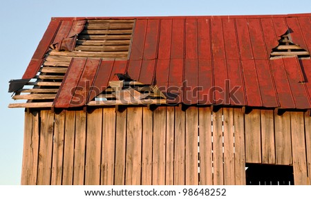 Battered barn roof - stock photo