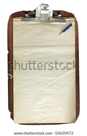 Battered old wooden clipboard, with aged paper and pencil stub. - stock photo