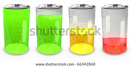 Batteries at different charging status with bubbles (collection) - stock photo