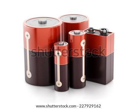 Batteries isolated on white background. - stock photo