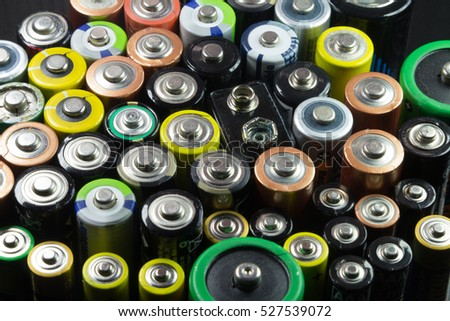 Batteries of different types and colors