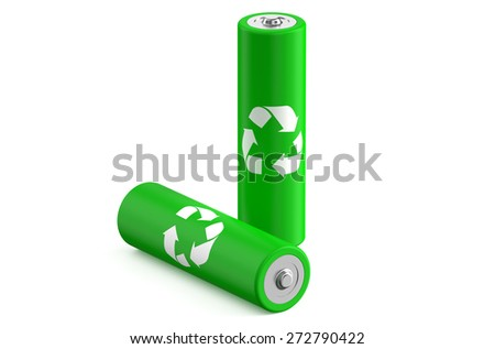 Batteries recycle size AA isolated on white background - stock photo
