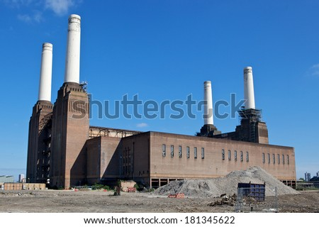 Battersea Power Station - a decommissioned coal-fired power station located on the south bank of the River Thames, it is the largest brick building in Europe. - stock photo