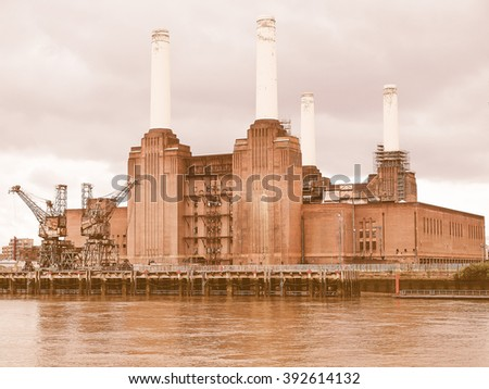 Battersea Power Station in London England UK vintage