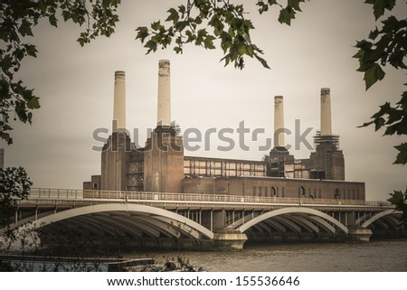 Battersea Power Station in London England UK - vintage look - stock photo