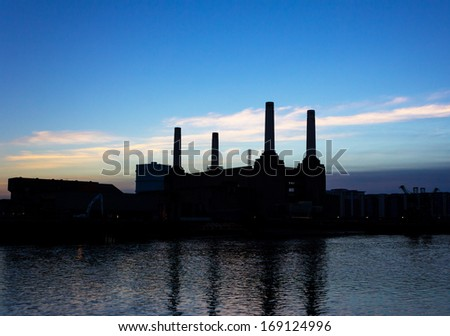 Battersea Power Station Silhouette at Dusk - stock photo