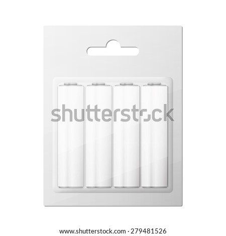Battery AA blister packed - stock photo