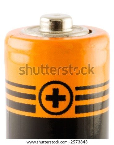 Battery AA. Positive connect. Close-ip. Isolated. With path - stock photo