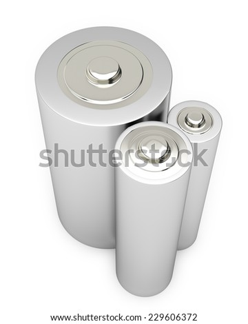 Battery Alkaline Cadmium Chemical Three Isolated on White Background - stock photo