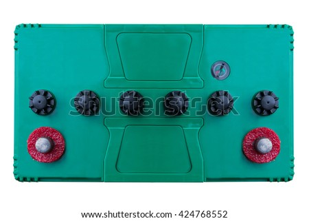 battery batteries accumulator car auto parts electrical supply power isolated on white background - stock photo