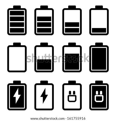 Battery Black Icons - stock photo