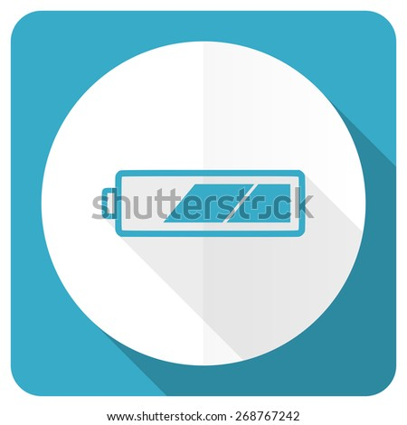 battery blue flat icon charging symbol power sign  - stock photo