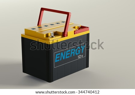 Battery car in the background 3d rendering. - stock photo