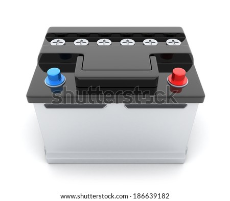 Battery car on white background (done in 3d) - stock photo