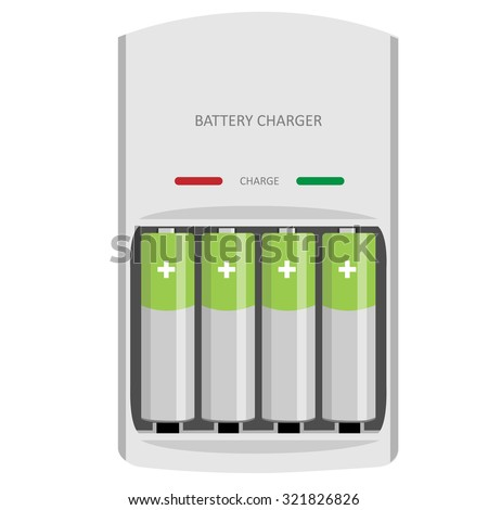 Battery charger with finger batteries and indicators low, high raster isolated - stock photo