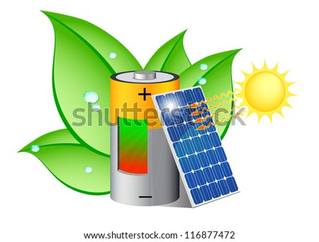 Battery charging with a photovoltaic panel exposed to the sun - stock photo