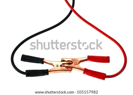 Battery clamps taken on a white background - stock photo