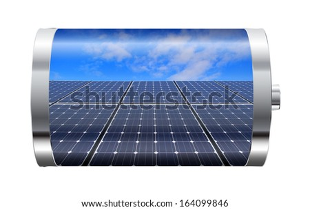 Battery containing solar panels against blue sky  - stock photo