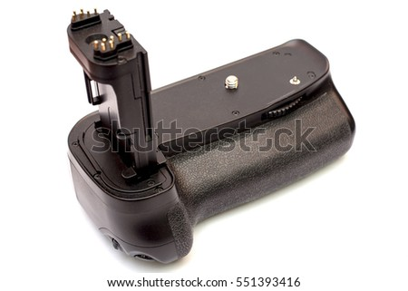 Battery grip for modern DSLR camera isolated on white background
