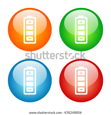 Battery Icon Glass Button Icon Set with Four Colors.  Raster Version - stock photo