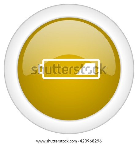battery icon, golden round glossy button, web and mobile app design illustration