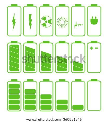 Battery icon set .Set of battery charge level indicators - stock photo