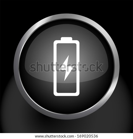 Battery Icon Symbol with Glass Button Background.  Raster version. - stock photo