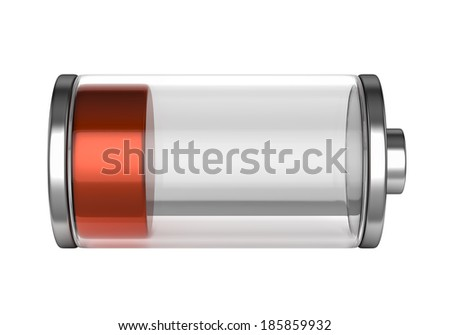 Battery icon with a low charge isolated on white background - stock photo